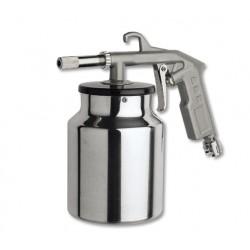 Sandblasting gun with lower jug