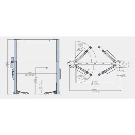 Modena Asymmetrische, hydraulische 2-Säulenhebebühne